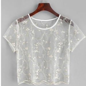 Floral embroidered mesh